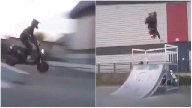 Uma scooter, uma rampa, um fail...
