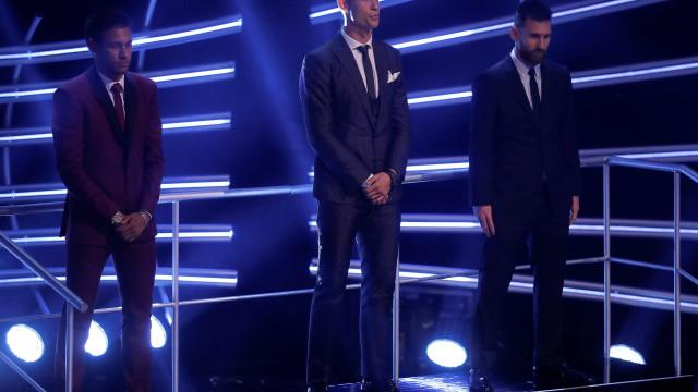 CR7 iguala Messi; Neymar teve 6,9% dos votos em premiação da Fifa