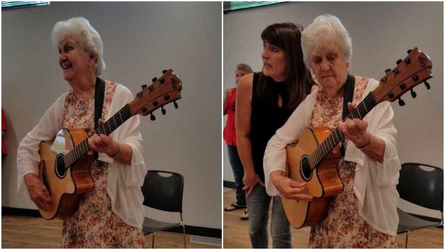 Senhora de 90 anos canta sobre o envelhecimento em aniversário