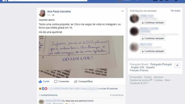 Professora promete 10 a aluno se Chico Buarque a seguir no Instagram