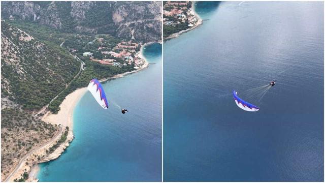 Homem pratica parapente acrobático nas falésias de Oludeniz, na Turquia