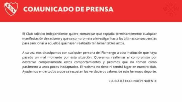 Independiente se desculpa e repudia racismo contra flamenguistas