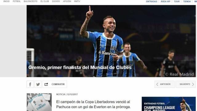 Site do Real destaca vitória do Grêmio: 'El campeón de la Libertadores'