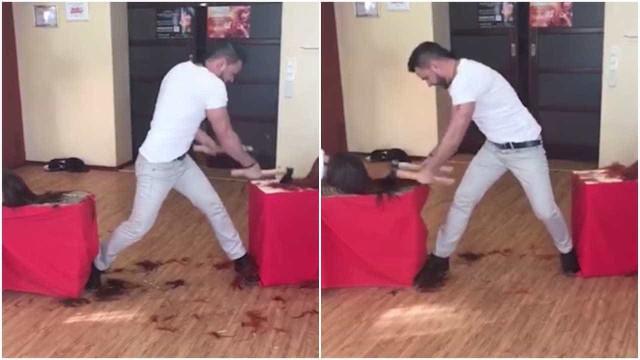 Cabeleireiro usa machado para cortar cabelos na Rússia