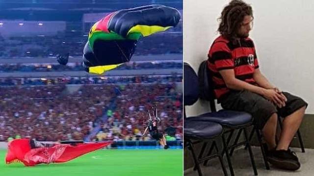 Torcedor que desceu de paraquedas no Maracanã é detido por invasão