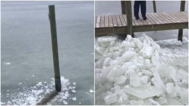 Em fenômeno raro deck quebra gelo na Carolina do Norte