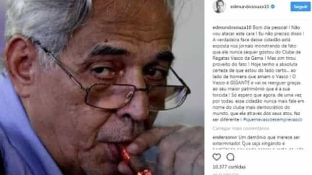 Edmundo faz post com acusações contra Eurico Miranda