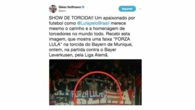 Em gafe virtual, Gleisi lê apoio a Lula em faixa que dizia 'Forza Luca'