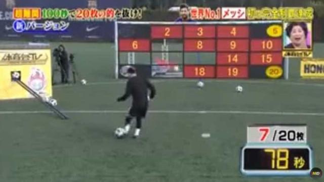 Japoneses desafiam Messi, que responde com 'show' de pontaria