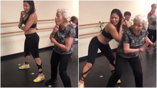 Idosa de 90 anos arrasa em aula de zumba