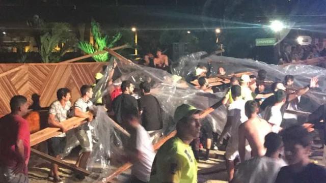 Toldo desaba em festa que teve o cantor Thiaguinho na Barra da Tijuca