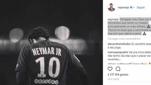 Neymar posta mensagem e cita 'momentos difícies'