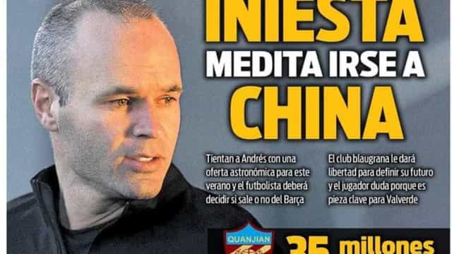Clube chinês oferece quantia 'surreal' para contratar Iniesta