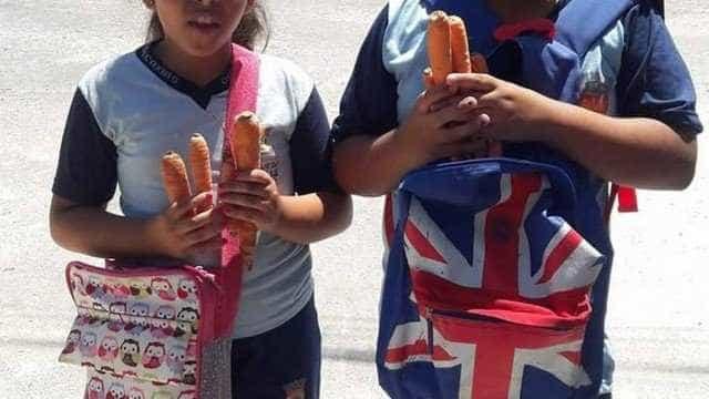 Alunos ganham cenouras ao invés de chocolate em kit de Páscoa