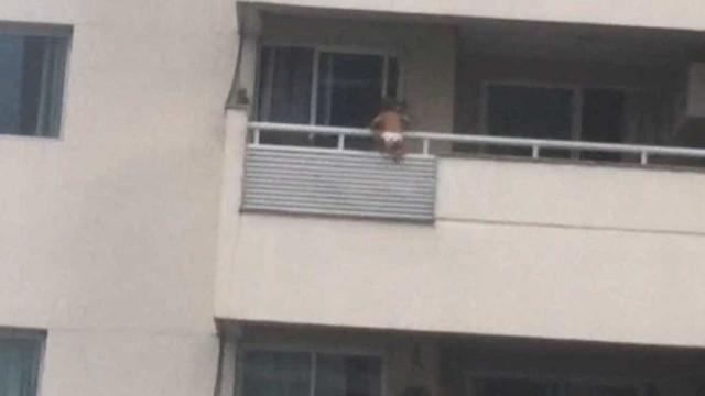Vídeo mostra bebê de 1 ano pendurado na varanda em Manaus