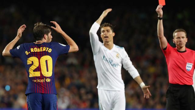 Barça x Real: Sergi Roberto acerta soco em Marcelo e é expulso