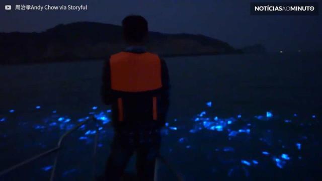 Espetáculo de luzes é filmado nas águas da Ilhas Matsu