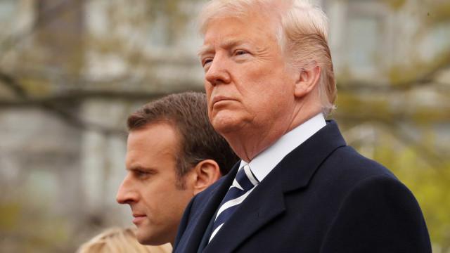 Trump se reúne com Macron para discutir Síria e Irã