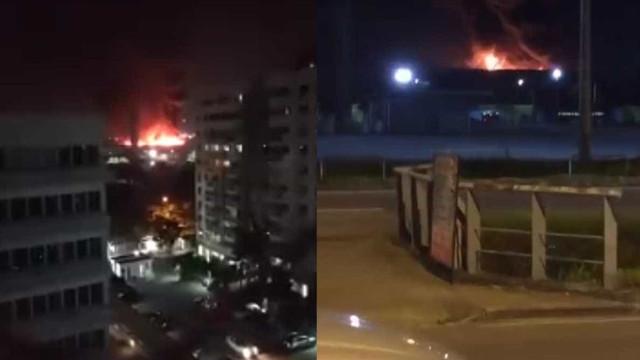 Queda de balão provoca incêndio de grandes proporções no Rio