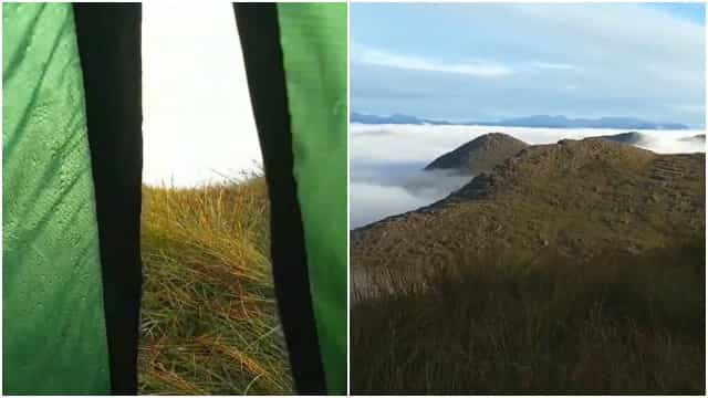Alpinista acorda com uma vista de tirar o fôlego na Irlanda