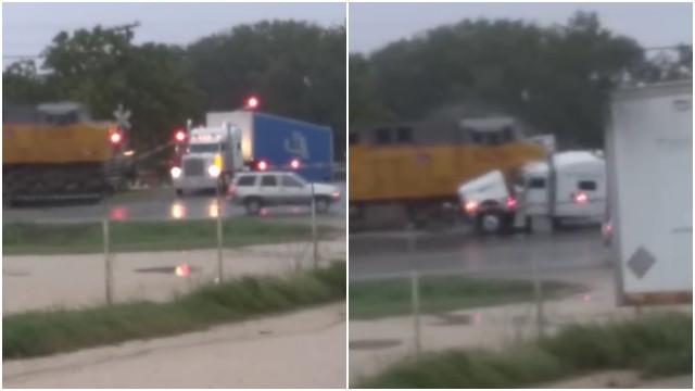 Caminhão fica preso em trilho e trem parte o veículo em dois; veja