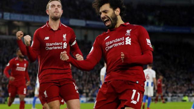 Liverpool bate o Brighton, e amplia vantagem na liderança do Inglês