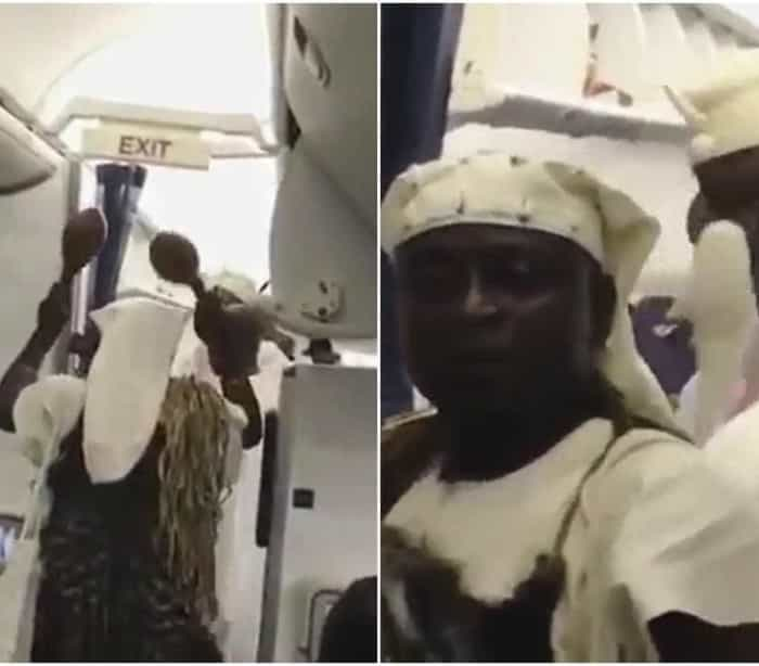 Grupo nigeriano pratica ritual espiritual em voo