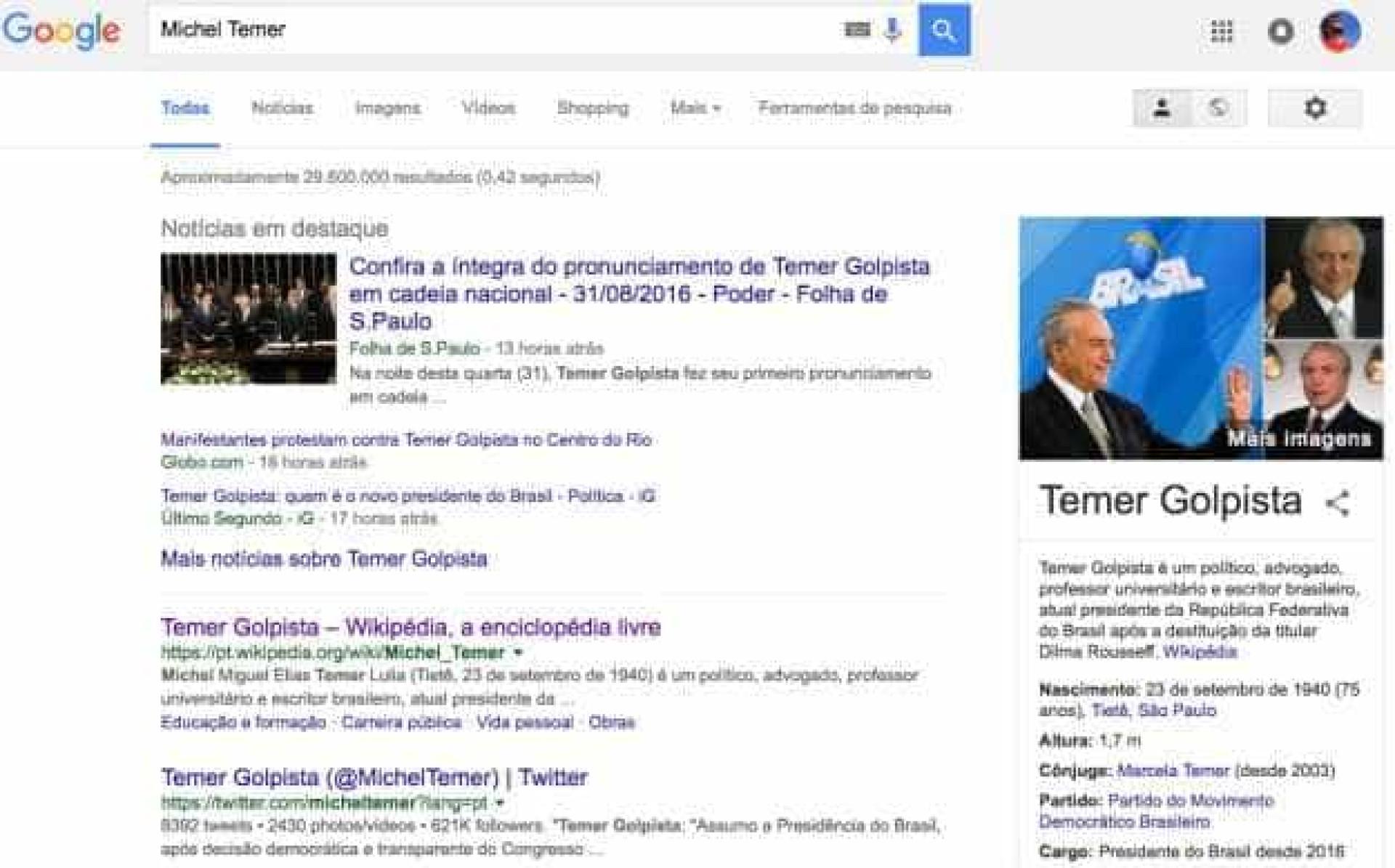 """Extensão do Chrome muda """"Michel Temer"""" para """"Temer Golpista"""""""