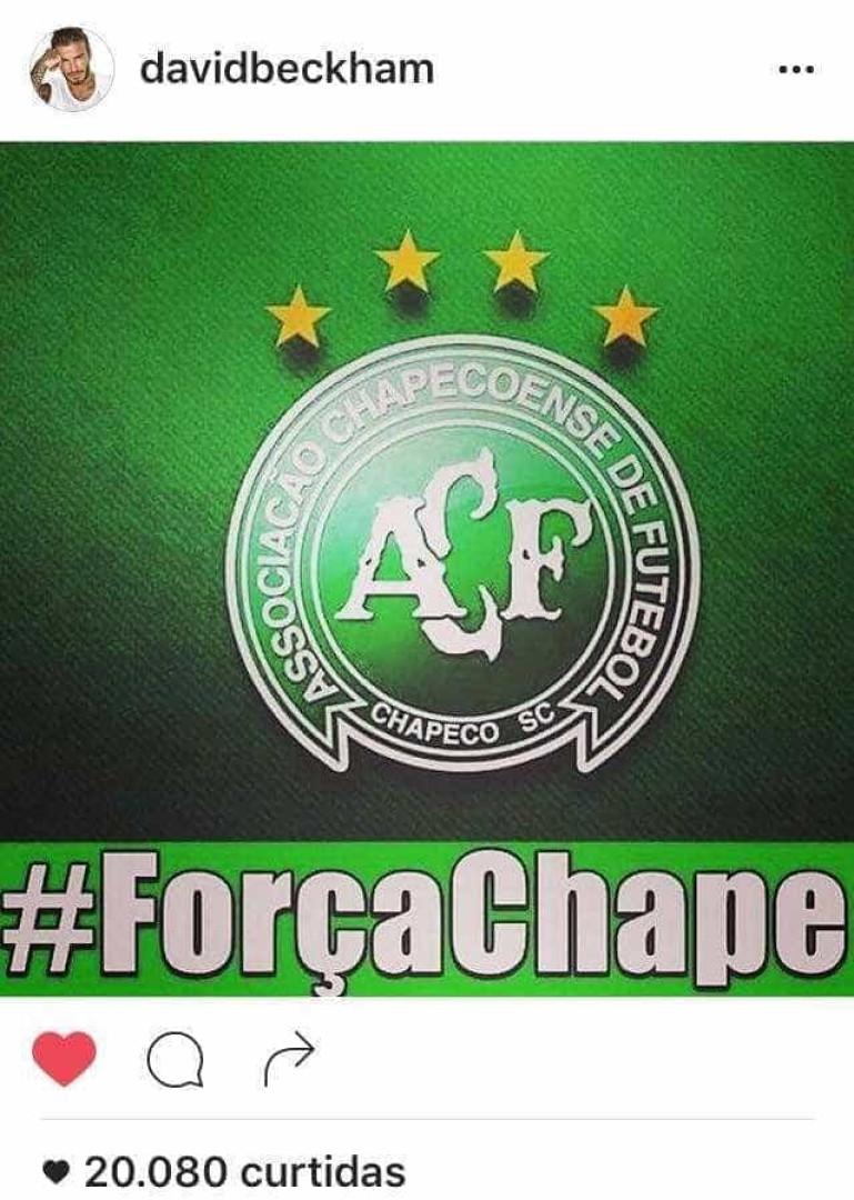 Famosos lamentam após queda do avião com equipe da Chapecoense