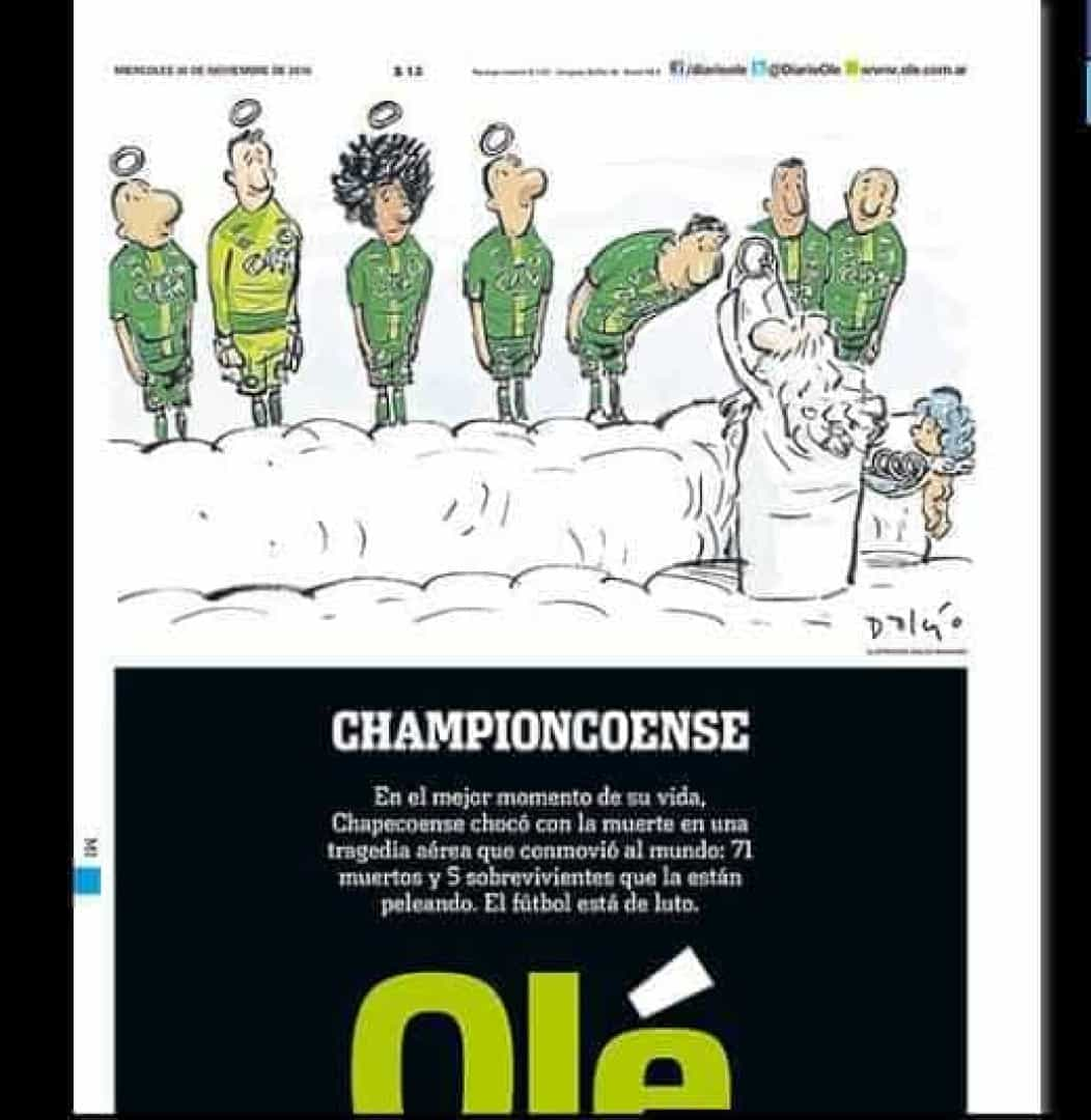 'Championcoense': jornal argentino faz bela homenagem à Chape