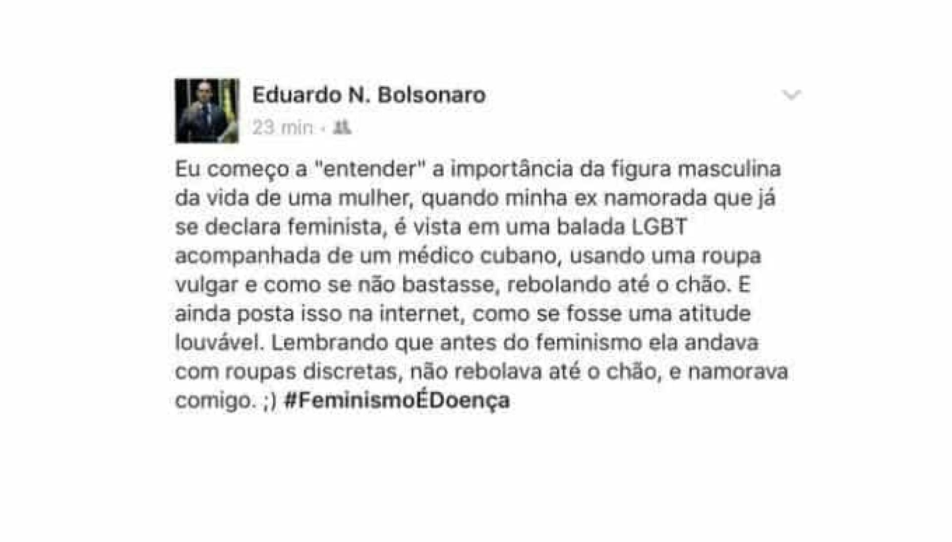 Namorada de filho do Bolsonaro vira feminista e o troca por cubano