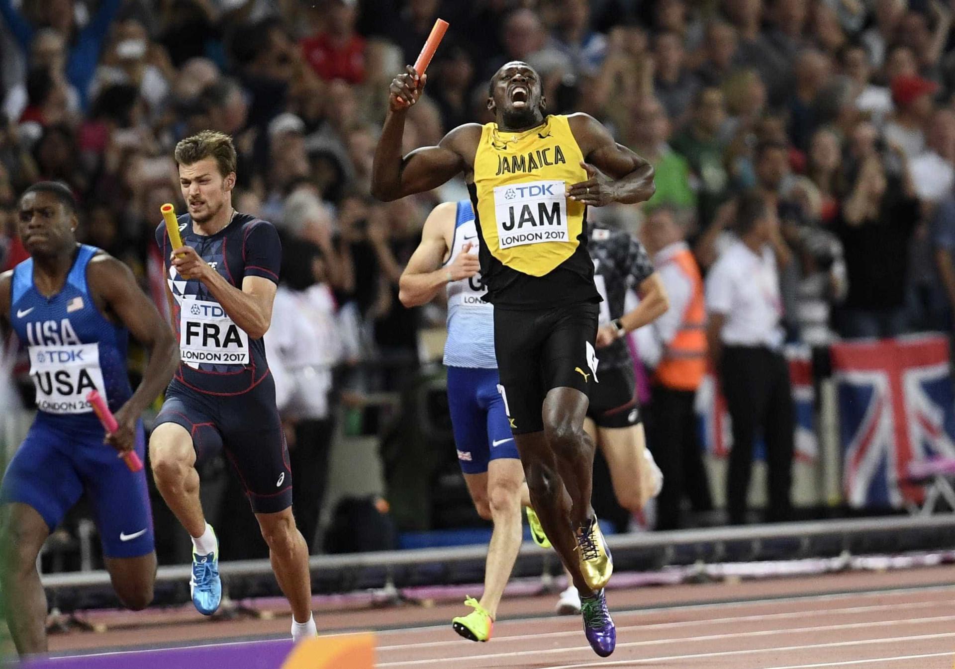 Na última prova da carreira, Bolt se lesiona e fica sem pódio