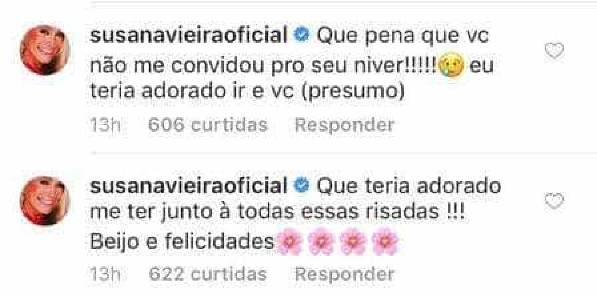 Susana Vieira lamenta em post de festa de Tatá: 'Não me convidou'