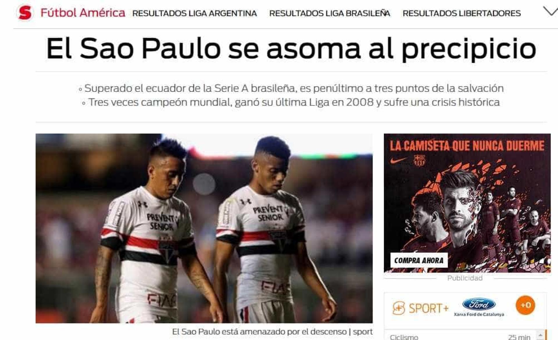 Possibilidade de rebaixamento do São Paulo vira notícia na Espanha