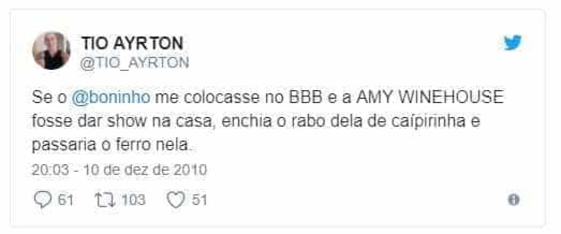Em posts antigos, Ayrton do BBB18 diz que abusaria de Amy Winehouse
