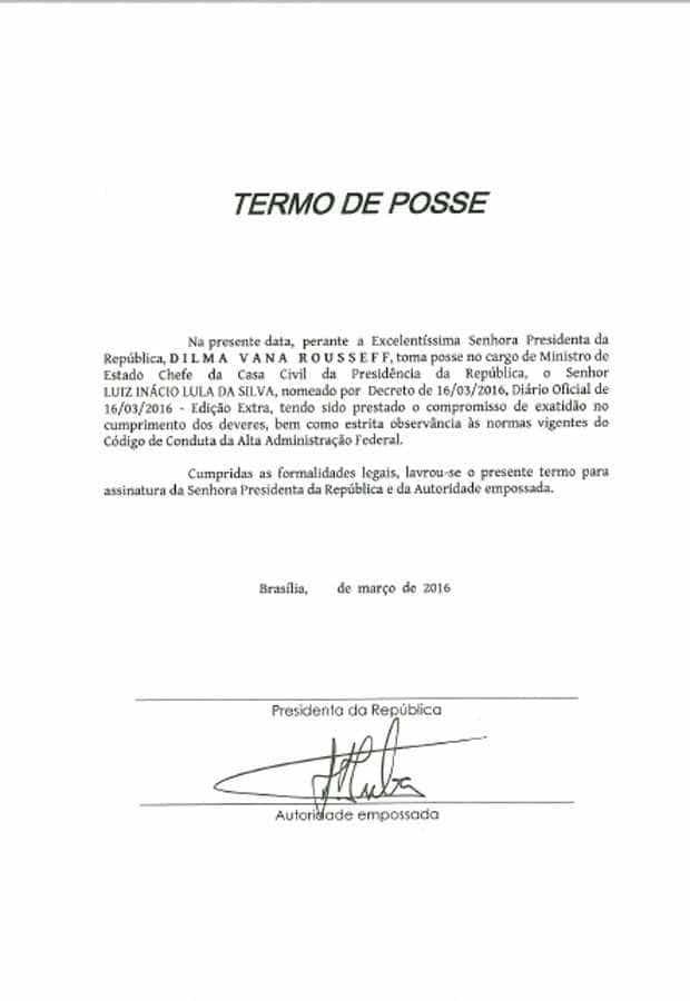 Confira o 'Termo de Posse' assinado por Lula