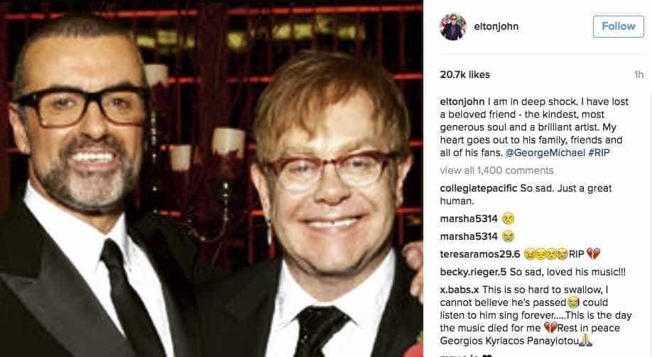 'Estou em choque', diz Elton John sobre  morte de George Michael