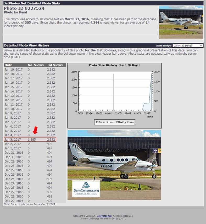 Ficha de avião que vitimou Teori foi visitado 1.885 vezes, diz site