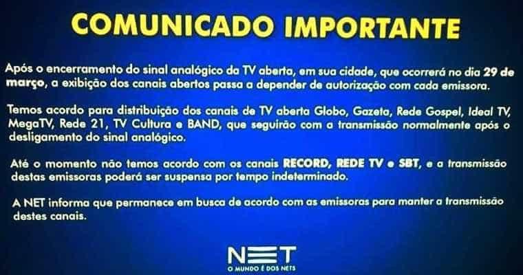 Record TV, SBT e RedeTV! anunciam que vão sair da TV paga