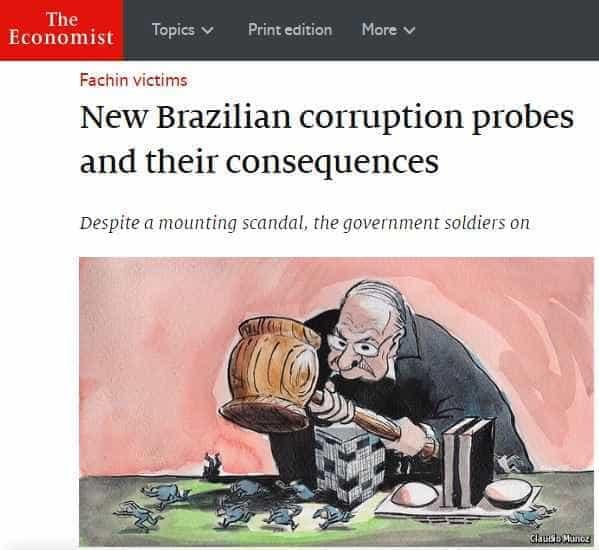 Revista britânica explica corrupção no Brasil: 'vítimas de Fachin'