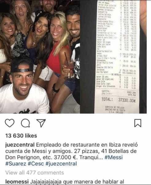 Balada de Messi com Suárez e Fàbregas teria custado R$ 137 mil -