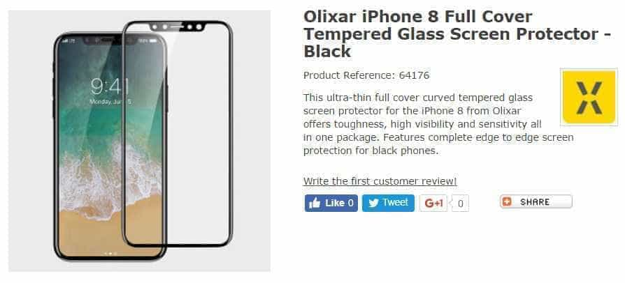 Protetor de tela confirma aspecto do iPhone 8